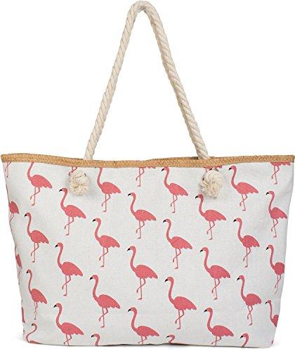 styleBREAKER XXL Strandtasche mit Flamingo Print und Reißverschluss, Schultertasche, Shopper, Damen 02012234, Farbe:Weiß