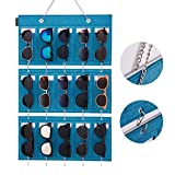 BOKENTO Sunglasses Organizer Storage, Upgraded Detachable Hanging Eyeglasses Holder Wall Pocket Mounted, Eyewear Display, 15 Felt Slots with Hooks for Keys and Metal Chain (Green)