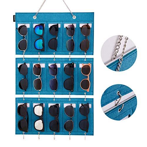 BOKENTO Sunglasses Organizer Storage, Upgraded Detachable Hanging Eyeglasses Holder Wall Pocket Mounted, Eyewear Display, 15 Felt Slots with Hooks for Keys and Metal Chain (Green)