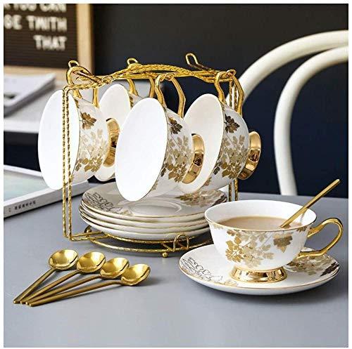 Juego de taza de café y platillo, exquisito y creativo inglés por la tarde, taza de café y platillo, taza de café simple para el hogar, taza de té de porcelana