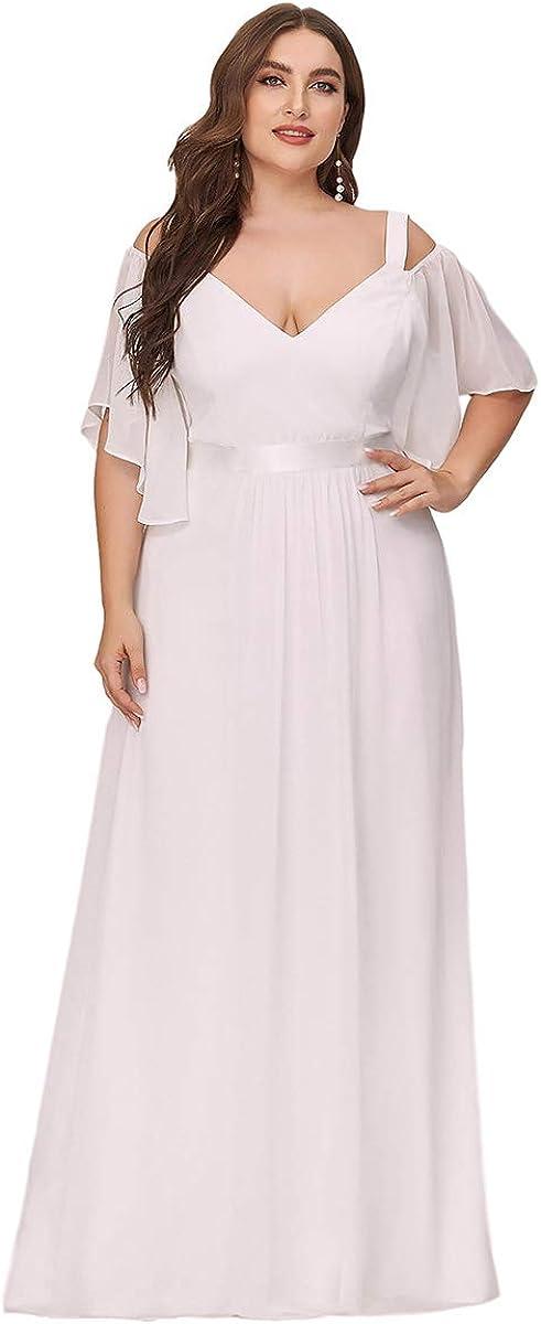 Ever-Pretty Women's A-Line Cold Shoulder Plus Size Bridesmaid Dress Evening Gowns 7871-PZ
