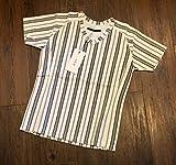 AKM カラミ ジャージ ストライプ Vネック Tシャツ KARAMI JERSEY Stripe Vneck T-shirt エイケイエム S BLACK