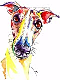 Greyhound Art Whippet Lurcher Galgo Dog Painting Artwork Print Birthday Gift - [A4 Mounted Print with 11 x 14' Mount] - A5 & A4 Mounting & Size Options Available