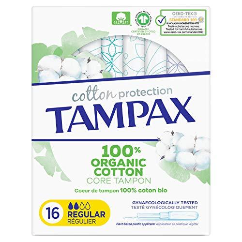 Tampax Cotton Protection Régulier Avec Applicateur X16, Coeur De Tampon En Coton Biologique