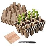 Hongyans 12 Pezzi Vasi Biodegradabili Vasetti per Piantine Semina Giardino Vasetti di Torba 122 Griglie con 50 Pezzi Etichette per Piante 1 Penne Impermeabili