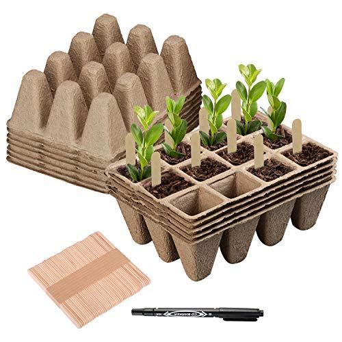 Hongyans Paquete de 12 Macetas de Semillas Biodegradables Bandejas Semilleros de Germinacion 122 Unidades con 50 Pz Etiquetas de Plantas 1 Rotuladores