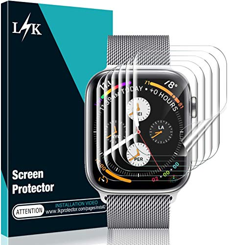 [6 Pack] L K Screen Protector for Apple Watch Series 3/2/1 42MM, [Full Coverage] [Self Healing] Anti-Bubble for iWatch Flexible TPU HD Clear Film (42MM)