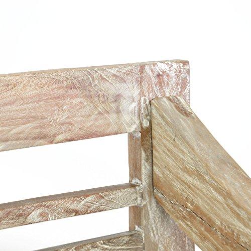 DIVERO 2-Sitzer stabile antike Gartenbank 115 cm massiv Teak-Holz Handarbeit 2 Personen Bank mit Schnitzereien weiß whitewash - 3