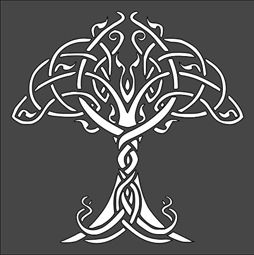 Rubstamper Celtic Tree of Life Logo Stencil Reusable Sturdy Flexible Clear Plastic 1-5.5x5.5 in Arts and Crafts Material Scrapbooking for Airbrush Painting Drawing