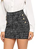 WDIRARA Women's High Waist Above Knee Double Breasted Tweed Short Mini Skirt Grey M
