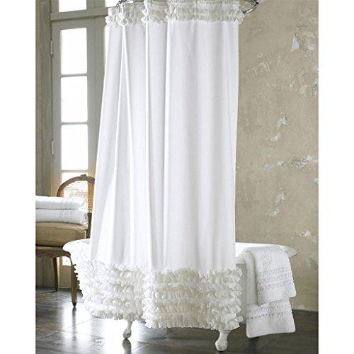 EPOU Duschvorhang Reinweiß Duschvorhang,Schimmel Wasserdicht,Polyester Verdickung Duschvorhang,senden Metallhaken Badezimmervorhänge (Größe : 200 * 180cm)