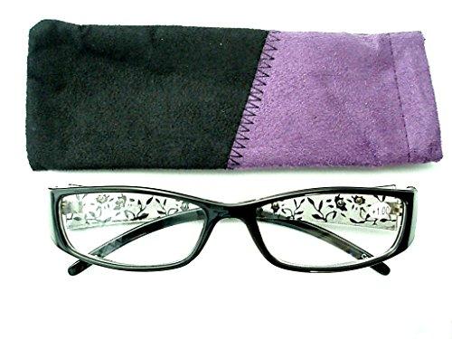細やかな花柄とラインストーンがステキな老眼鏡 ケース付き 101(+1.5, 黒)