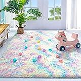 Noahas Fluffy Rainbow Rug for Girls Kids Luxury Shaggy Bedroom Rugs for Girls , Soft and Colorful Girls Room Decor Cute Shag Floor Carpets Nursery Home Decorations, 3 x 5 Feet