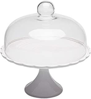 Bestonzon Ceramic Cake Stand Footed Cake Platter Server with Glass Dome Dessert Dome Tray Plate Ceramic Serving Trays Cera...
