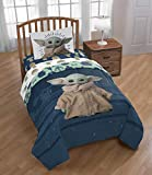 Star Wars The Mandalorian Baby Yoda Full Comforter, Sheets & Magnetic Play Set (5 Piece Bed in A Bag)