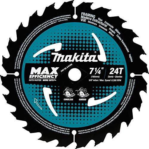 Makita B-61656 7-1/4' 24T Carbide-Tipped Max Efficiency Circular Saw Blade, Framing