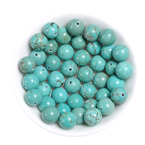 Natural Turquoise Beads for Jewelry Making Loose Stone Beads for Bracelets Necklaces Earrings Green Turquoise Jewelry Beads Bulk, 60pcs 6mm Natural Beads with Dragon Vein