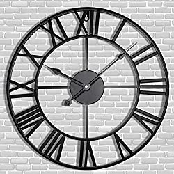 Antique Tower 30 inch Large Roman Numeral Wall Clock, Indoor Outdoor Patio Waterproof Oversized Decorative Contemporary Clock, Antique Black Metal Wall Clock Battery Operated Retro Art Hanging Clock,3