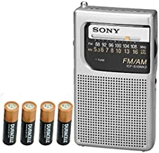 Sony ICF-S10MK2 Pocket AM/FM Radio, Silver + General Brand AA 4 Pack Batteries
