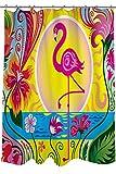 PETGOOD Duschvorhang Flamingo Blossom Sun viele schöne Duschvorhänge zur Auswahl, hochwertige Qualität, Wasserdicht, Anti-Schimmel-Effekt 180 x 180 cm