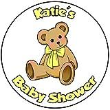 Decoración para tarta de baby shower, redondo, círculo de 20 cm, diseño amarillo, para bebé o niña (oso de peluche)