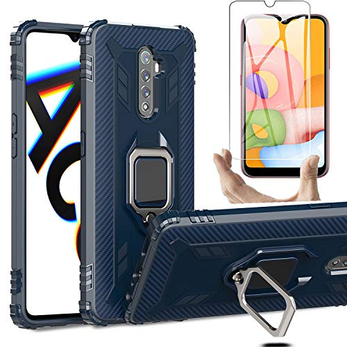 HYMY Funda para Realme X2 Pro + 1 x Cristal Templado Protectores Pantalla - Blue TPU Silicona Suave Gel Caja Tapa Caso Parachoques Carcasa para Realme X2 Pro