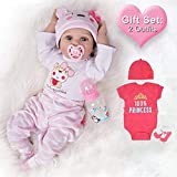 Lifelike Reborn Baby Dolls Girl 2 Outfits 22 Inches Silicone Vinyl Newborn Light Pink and Dark Pink