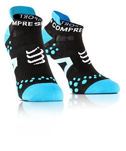 COMPRESSPORT Run Lo - Calcetín de Running Unisex, Color Negro/Azul, Talla 2