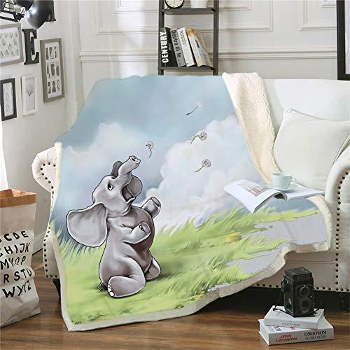TBATM Decke, 3D Elefant Print Flanell Sofa Decke Sherpa Soft Cosy Warm TV Decke für Couch Chair Living Bed Room,A,200X150cm