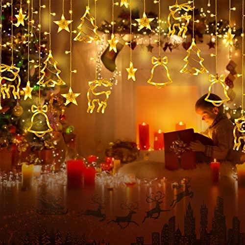 138 LED 2.3m Lichterkette Warmweiß,Lichtervorhang mit 8 modi und Timer,Sterne & Weihnachtsmuster, Weihnachtsbeleuchtung Innen/Außen, IP44 Wasserdicht Dekoration Für Christmas Weihnachtsdeko