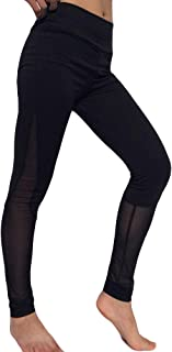 Qootent Legging High-Elastic Slim Fitness Pant Stitching Mesh Trouser Sweatpant