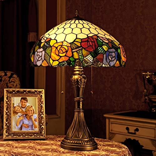 Lámpara de sobremesa tricromática con forma de rosa elegante, estilo pastoral, 16 pulgadas, hecha a mano, lámpara de mesa, rosa