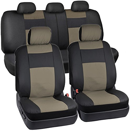 BDK OS-409-BG-A_am Black & Beige Synthetic Leather Seat Covers for Car SUV Van - Affordable PU Vinyle Replacement Covers