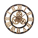 ACCSHINE Reloj de pared de 60 cm, reloj de pared vintage para salón, restaurante, oficina (oro, 60 cm)