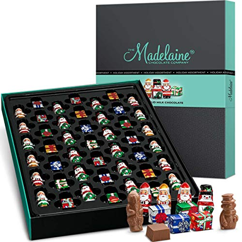 Madelaine Chocolate Luxury Gift Box - Extra Large 45-Piece - Christmas Holiday Themed Gourmet Chocolate Candy - Best Corporate, Business, Client, Food Gift Baskets - Premium Solid Milk Chocolate.