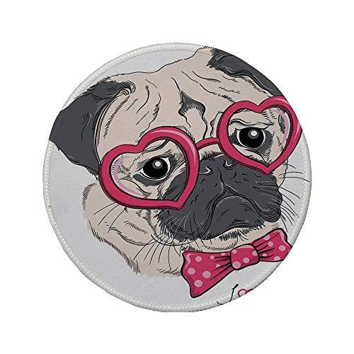 Rutschfreies Gummi-rundes Mauspad Mops modischer Hund mit herzförmiger Brille und gepunkteter Fliege Ich liebe Möpse Zeichnung rosa grau weiß 7.9