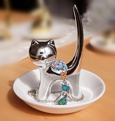 Silver Long Tail Cat Ring Holder Dish - Cat Gift for Women - Birthday Wedding Christmas Valentine's Day Gift for Women Girls Friend