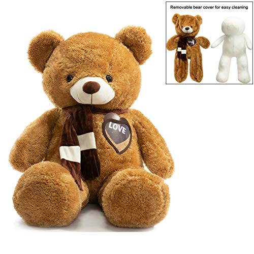 BEJOY Giant Teddy Bears Stuffed Animals Plush Bear with Removable Bear Cover and Greeting Card Birthday Valentine's Gift 39 Inch
