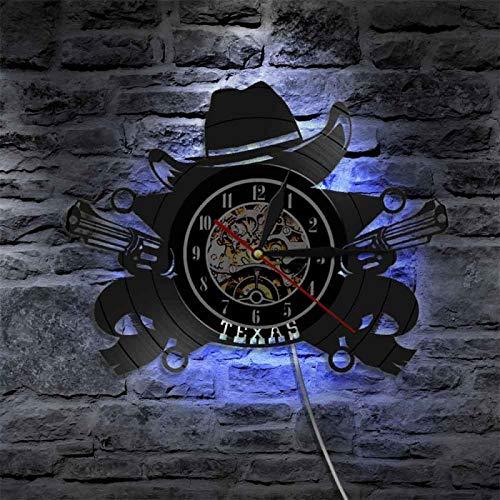 YINU Texas Cowboy Reloj de Pared Western USA Skyline Symbol Vinilo Disco Reloj de Pared Wild West Vintage Rodeo Revolvers Western Wall Decor