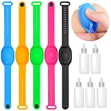Hand Sanitizer Bracelet, Refillable Silicone Wristband Portable Hand Dispenser with 5Pcs Bracelets Wristband & 5Pcs Beak Bottle, Travel Dispenser Bracelet for Kids, Adult
