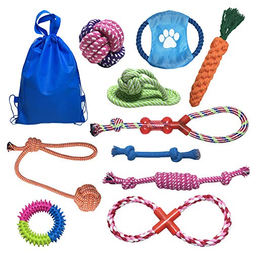 JollySweets 11 Pack Plush Dog Toy, Dog Cotton Toys Ropes Toys Set, Chew Toys, Teething Toys for Teeth Cleaning, Best Gift for Puppy Toys Small Dog Toys, Hangging Ball