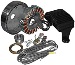 Cycle Electric alternator kits combine our state of the art stator with our legendary bullet proof rectifying regulator and a stock Harley rotor They deliver better low speed output and a smoother charge to the battery for crisper starting and longer...
