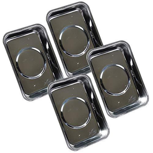 4 tlg Set Magnetablage eckig 95x65mm Edelstahl Magnethaftschalen rostfrei Magnet