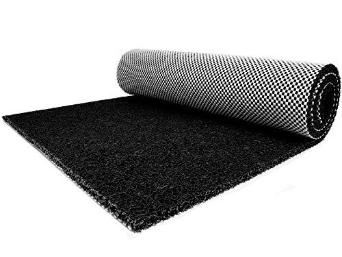 Vinyl-Schlingen-Matte LORENZO - 1,20m x 1,50m, Schwarz, Rutschfeste, Wasserdurchlässige, Hygienische Beckenumrandung, Spaghetti-Schmutzfang-Läufer für Nasszonen