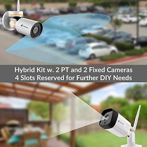 Kittyhok 8CH Home Security Camera System Wireless Outdoor/Indoor, 2pcs 1080P PTZ WiFi Cameras 2pcs 2MP Bullet Camera, 100ft Night Visioin, Motion Detection, Weatherproof, Remote View Control, No HDD