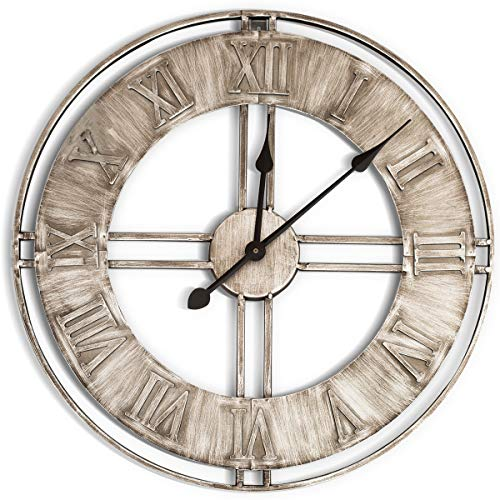 "WallCharmers 20"" Industrial Silver Metal Wall Clock 