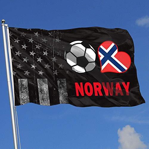 Emonye Outdoor Flags Soccer Heart Football Norway Flag 3X5 Ft Flag for Outdoor Indoor Home Decor Sports Fan Football Basketball Baseball Hockey