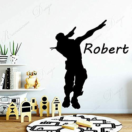 Personalizado Nombre de niño Battle Royal Pegatina de Pared Vinilo habitación Adolescente Dormitorio Jugador calcomanía 66x75cm