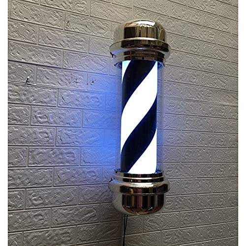 TYCI Barber Pole Negro Interior Classic Hair Salon Barber Shop Letrero LED Giratoria Iluminada Lámpara De Pared Impermeable Al Aire Libre