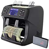 DETECK Mixed Denomination Bill Value Counter 2 Year Warranty DT800 Bank Grade Money Counting Machine with Advanced Multi-Currency Counterfeit Detection Reject Pocket Sorting and Printing Enabled